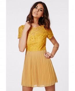 Új, MISSGUIDED mustár ruha / 2XL