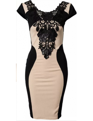 b125fd61a6 Új, drapp fekete csipke ruha / M