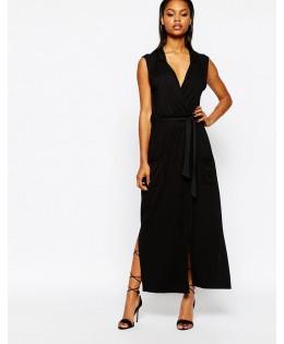 Új, maxi fekete, öves ruha
