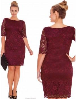 Új, bordó csipke ruha 3XL